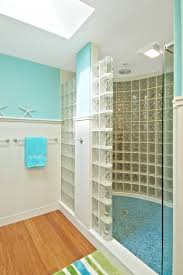 Light Blue Bathroom Paint by Charming Blue And White Bathroom Decoration Using Glass Block