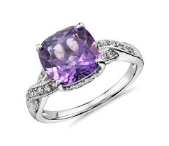 compare prices on amethyst engagement amethyst and white sapphire ring in sterling silver 9x9mm blue
