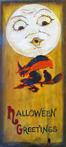 vintage look halloween painting primitive board wood acrylic witch