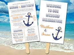 printable wedding program fans wedding program fan anchor wedding porgram nautical