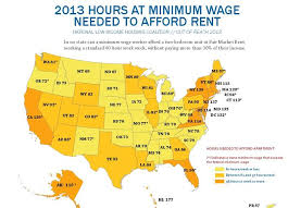 which state has the lowest cost of living you need to work at least 67 hours a week to afford rent while