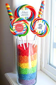 Rainbow Themed Birthday Favors by Rainbow Gumball Centerpiece Great Idea For A Birthday