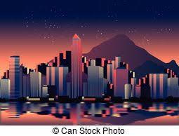 night city skyline sketch modern city downtown business