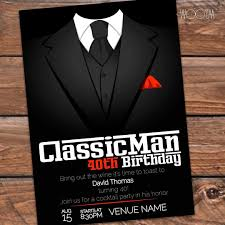 customize this invitation for that classic man 40thbirthday