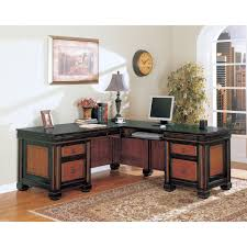 L Shape Wood Desk by L Shape Brown Black Wooden Desk With Drawers And Black Counter Top