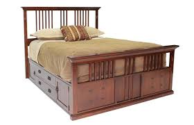 Headboard Footboard Bedroom Dark Oak Queen Captain Bed With Storage Unit And