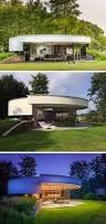 this circular house is built into the hillside small modern