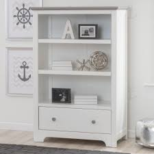 White Beadboard Bookcase by Delta Providence Bookcase With Drawer White And Textured Grey