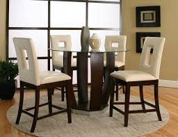 Circular Glass Dining Table And 4 Chairs Round Tempered Glass Pub Table By Cramco Inc Wolf And Gardiner
