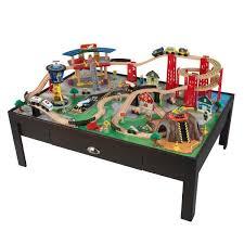 Imaginarium Train Set With Table 55 Piece Amazon Com Kidkraft Airport Express Espresso Table And Set Toys