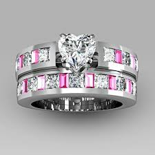 White Gold Cz Wedding Rings by 4 Prong Solitaire Heart Cubic Zirconia 925 Sterling Silver White