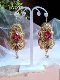 soutache earrings buy soutache earrings valerie soutache jewelry beige pink on