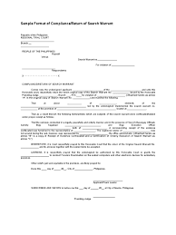 sample format of compliancereturn of search warrant
