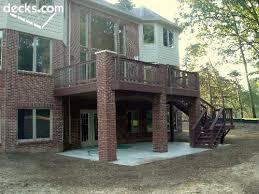 trex deck w brick pillars outdoor spaces pinterest decking