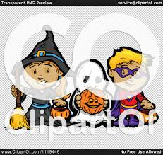 free halloween clip art transparent background cartoon of halloween kids in witch ghost and super hero costumes
