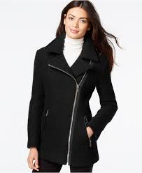 calvin klein asymmetrical zip wool coat in black lyst