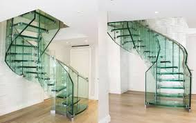 helical stairs made of glass wood and steel individually customized