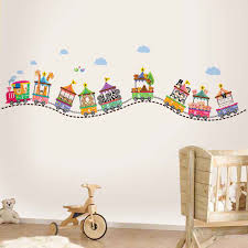 decor kiddicare walplus animal train wall sticker collection