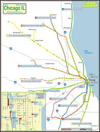 Blue Line Chicago Map by Chicago Metra Railfan Guide