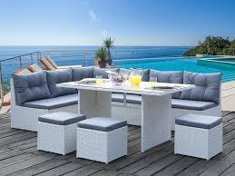 canape tresse exterieur salon jardin angle palawan en resine tressée blanche