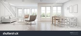 sketch design dining living room modern stock illustration