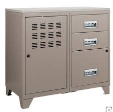 meuble bureau meuble bureau métal 1 porte 3 tiroirs taupe