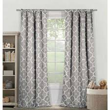 Curtains White And Grey Geometric Gray Rod Pocket Curtains Drapes Window