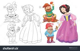 snow white coloring book snow white seven dwarfs fairy tale stock illustration 360441818