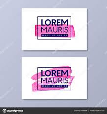 make up artist business card vector templates paint pink brush