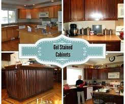 Staining Kitchen Cabinets Without Sanding Gel Stain Kitchen Cabinets Before After How To Refinish Kitchen