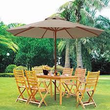 Umbrella Patio Sets 9ft Wooden Outdoor Patio Table Umbrella W Pulley