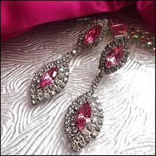 Diamond Chandeliers Art Deco Earrings 1950s Pink Crystal Diamond Chandeliers