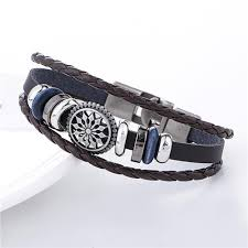 bracelet with anchor charm images Cool leather woven anchor charm bracelet vintage for men and women jpg