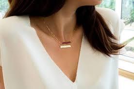 nameplate bar necklace etsy gold bar necklace initial bar nameplate bar name necklace