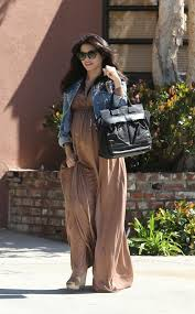 the denim jacket over a maxi dress trend celebrities in