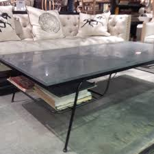 rectangular grey glossy stone top coffee table with black metal