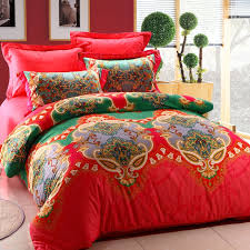 100 Cotton Queen Comforter Sets Red And Green Unique Indian Tribal Print 100 Cotton Full Queen