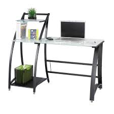 desk with shelves on side tempered glass computer desk w side shelves ultimate office