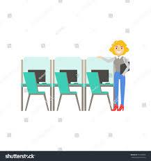 woman standing next set similar cubicles stock vector 551928958