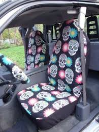 Auto Expressions Bench Seat Covers Lace Skull Bucket Seat Covers Pair Black With Pink Lace Auto