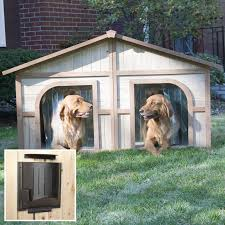 merry products lighter stain duplex dog house with heater hayneedle