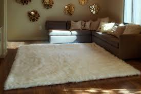 Plus Rug White Shaggy Fur Faux Fur Rug Rectangle Shape Plush Soft