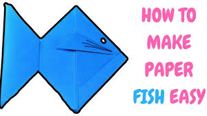 how to make paper fish easy origami craft for kids step by step 3d