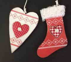 wooden christmas tree ornaments red stocking u0026 white heart
