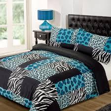 Zebra And Red Bedroom Set Kruger Red Black Double Size Zebra Leopard Animal Print Duvet