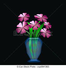 Vase Of Flowers Drawing Drawings Of Flowers In Vase Large Pink Flowers In Blue Glass