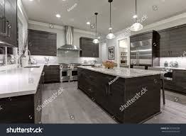 modern gray kitchen features dark gray stock photo 557518258