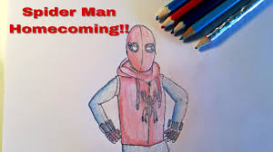 spider man homecoming homemade suit drawing speed draw youtube