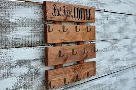 but first coffee u201d u2013 rustic pallet wood coffee cups and mugs rack