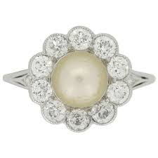 cluster rings and co pearl and diamond cluster ring circa 1915